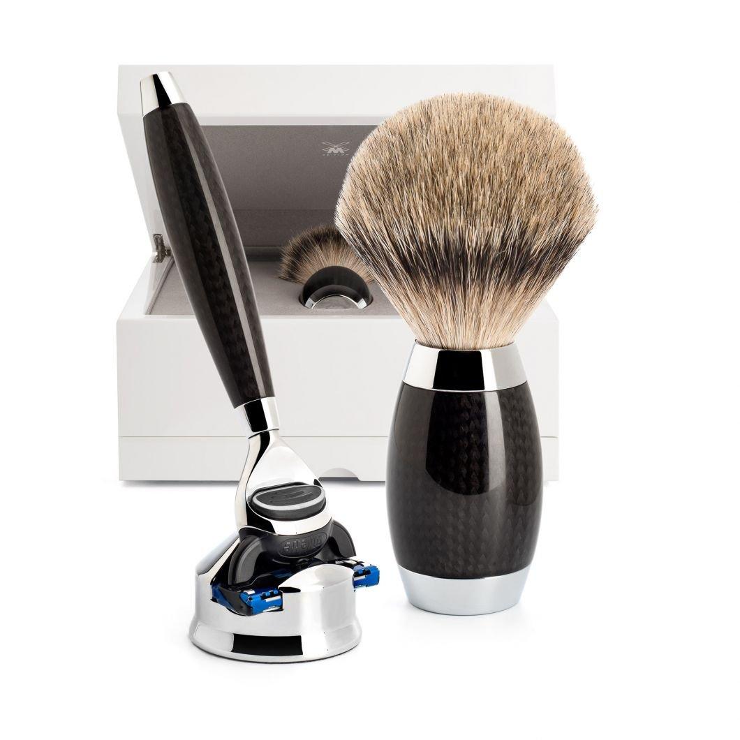 Rasierer Rasierpinsel Carbon Muehle EDITION No 1 - Stilvoll rasieren - Das Carbon Meisterstück von Mühle