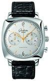 senator sixties square chronograph mit silbernem zifferblatt zeiger und indizes aus rosegold - Glashütte Senator Sixties Square Chronograph
