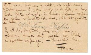 Franz Kafka, Visitenkarte mit 18 eigenhändigen Zeilen, Rufpreis € 10.000 © Dorotheum