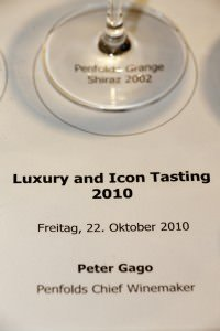 Penfolds Tasting - Penfolds Luxury and Icon Tasting mit Peter Gago