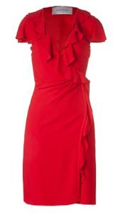 VALENTINO Kleid Flame Scarlet Deep V-Neck Draped