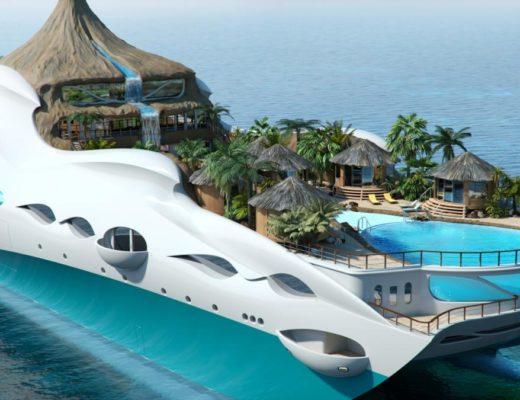 Tropical Island Paradise Yacht 520x400 - Tropical Island Paradise: Eine Yacht als Vulkaninsel
