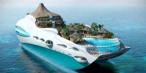 Tropical Island Paradise Yacht Quelle yachtislanddesign com - Tropical Island Paradise: Eine Yacht als Vulkaninsel