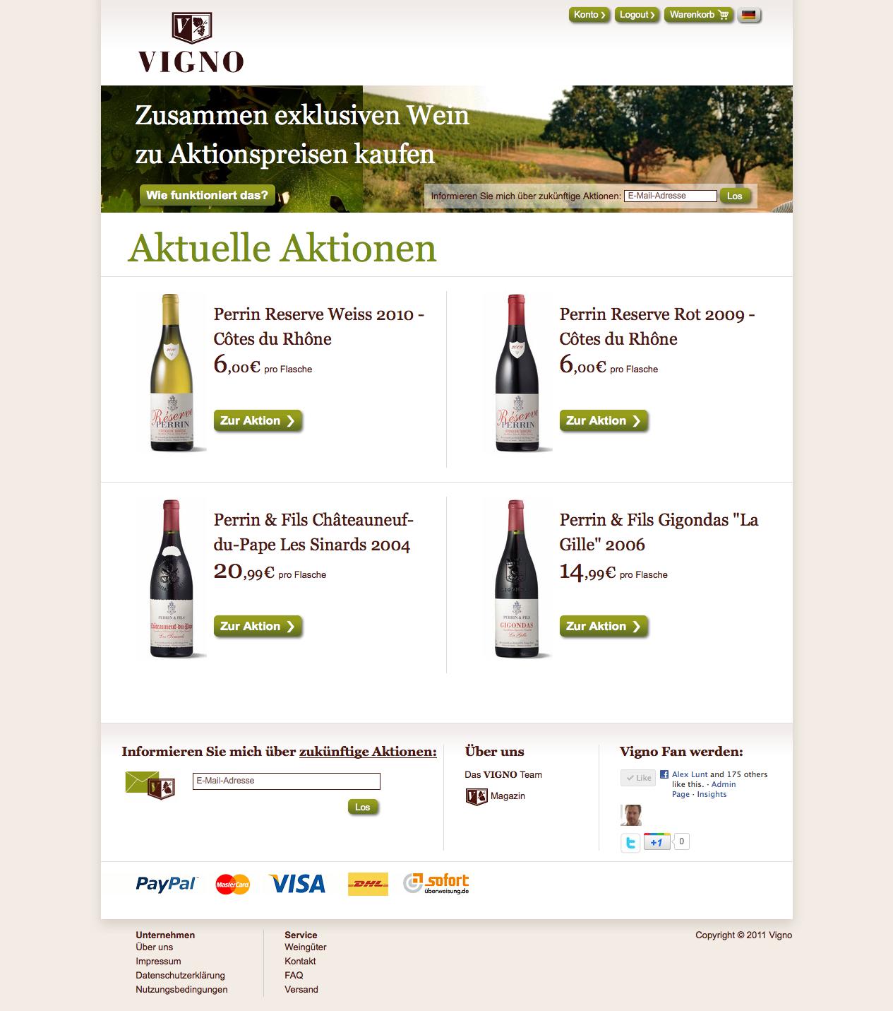 Vigno de Homepage - Das neue Start-up Vigno.de bietet wöchentliche Deals für exklusive Weine