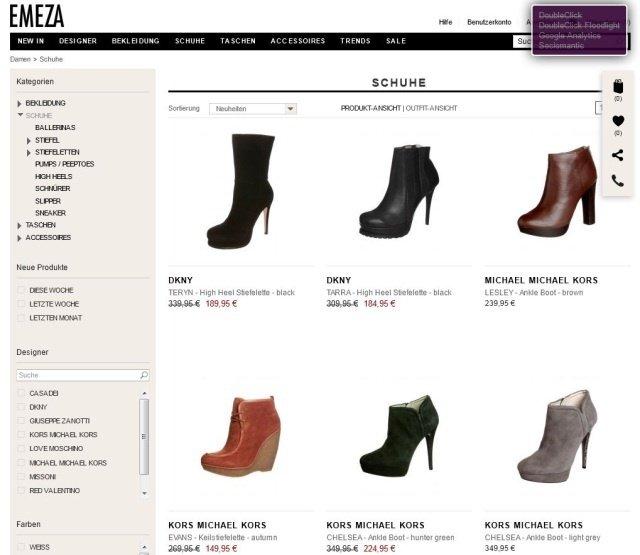 Screenshot emeza - Zalando schließt Luxus-Portal Emeza
