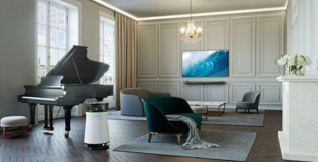 Bild lg signature oled tv w und air purifier mit creme to%cc%88nen