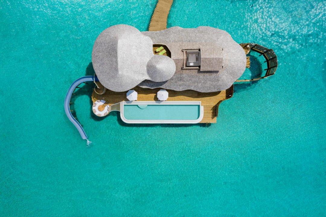 Soneva Jani 2BR Water Reserve aerial  by Sandro Bruecklmeier. 1080x720 - Traumziel Malediven – neue Luxus-Privatvillen bei Soneva Jani